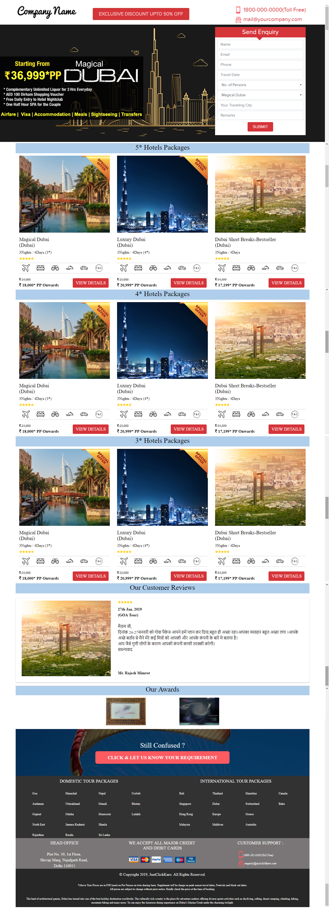 online tour package booking template design