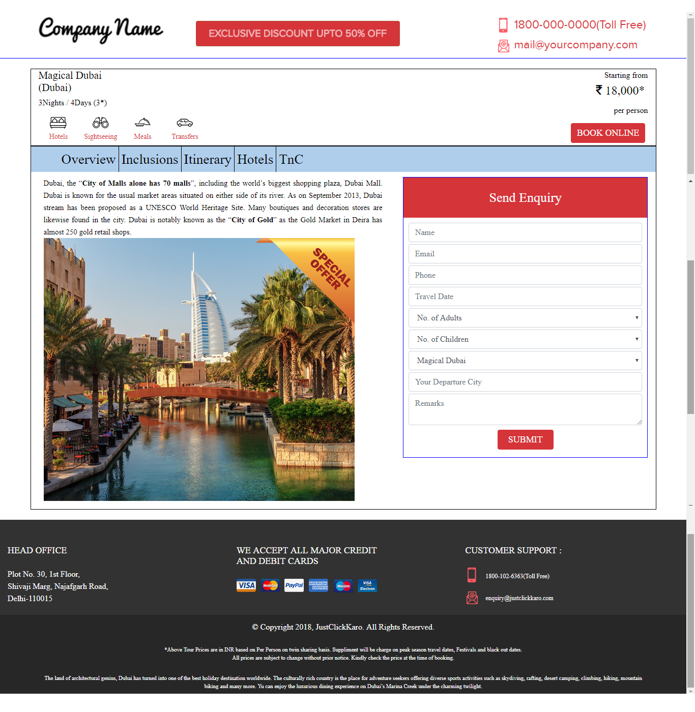 online flight booking template