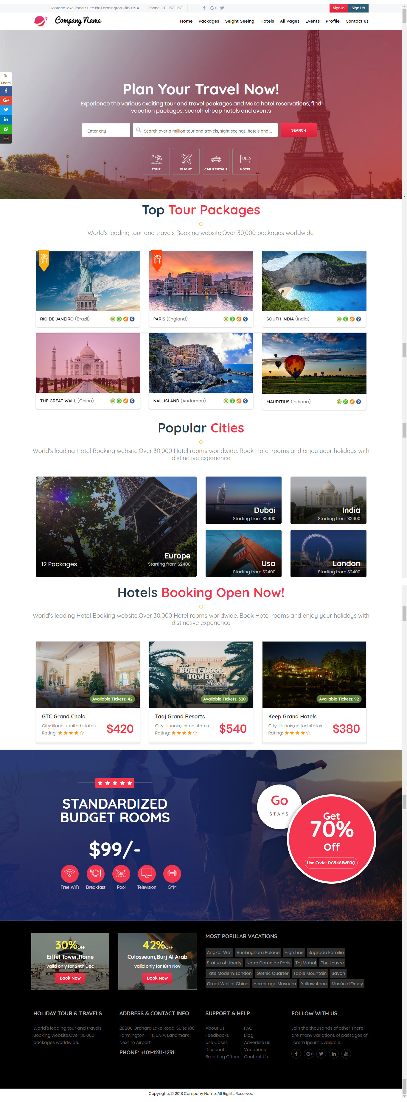 online travel website template