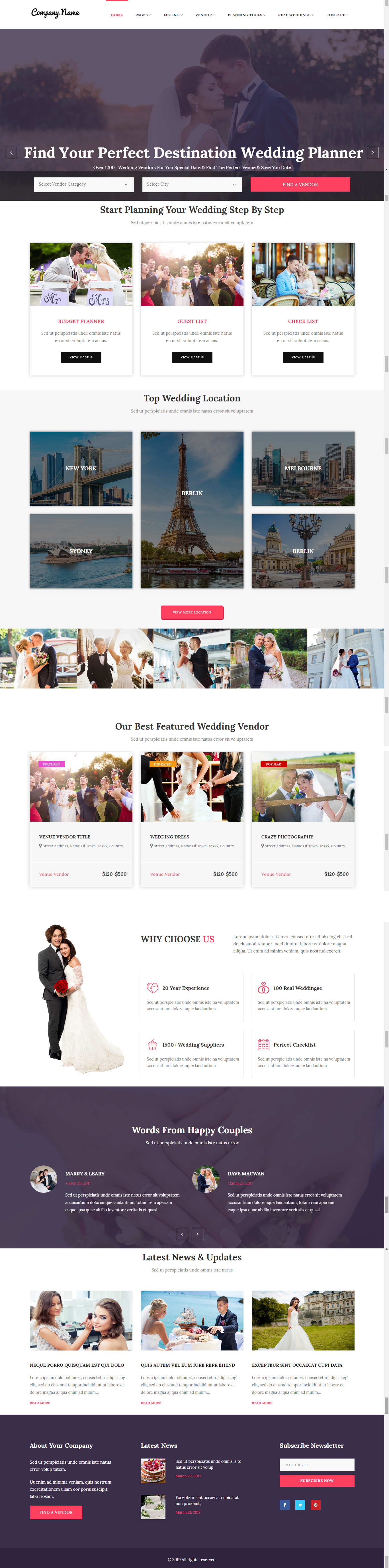 online destination wedding portal template